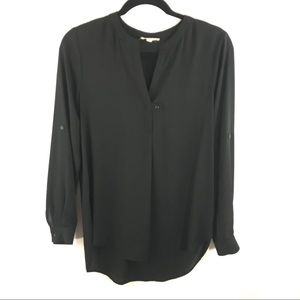 Pleione Small Black Long Sleeve V-Neck Blouse